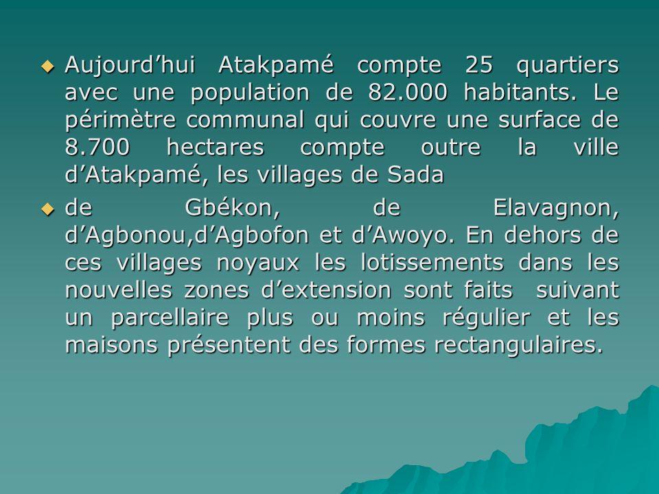 Aujourd'hui Atakpamé compte 25 quartiers avec une population de 82