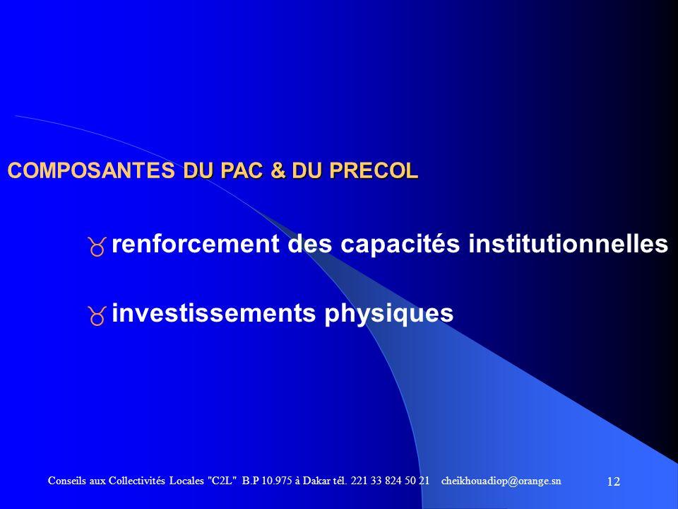 renforcement des capacités institutionnelles investissements physiques
