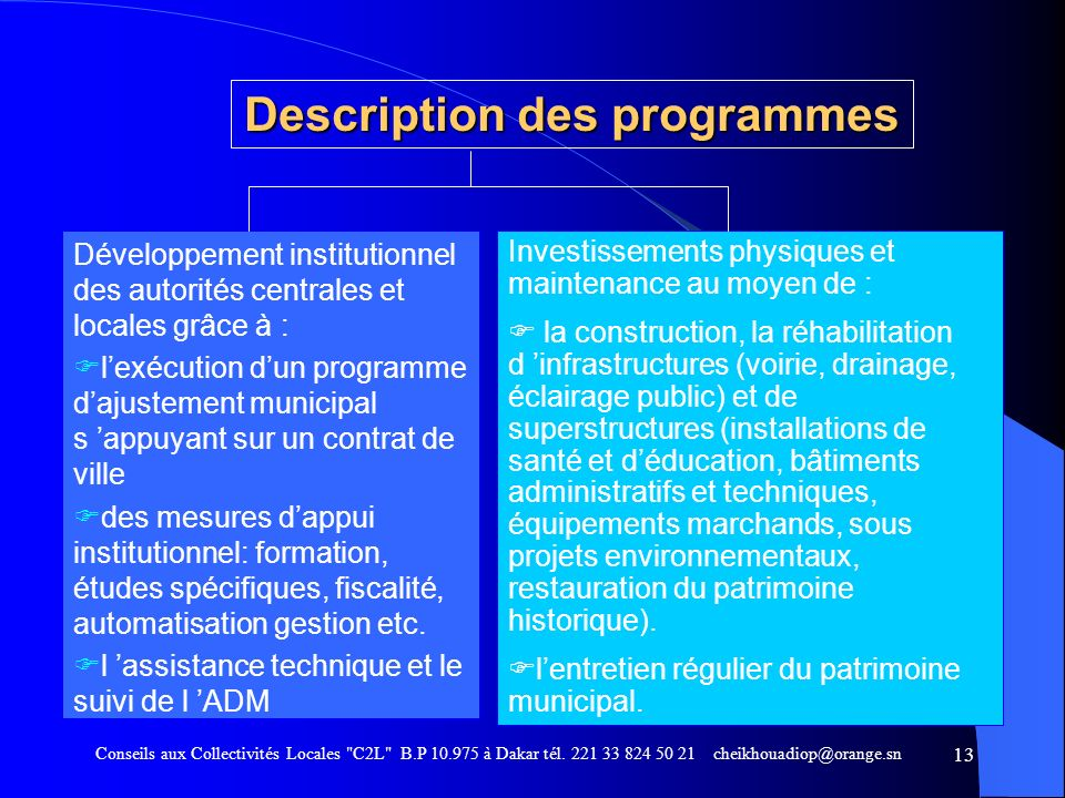 Description des programmes