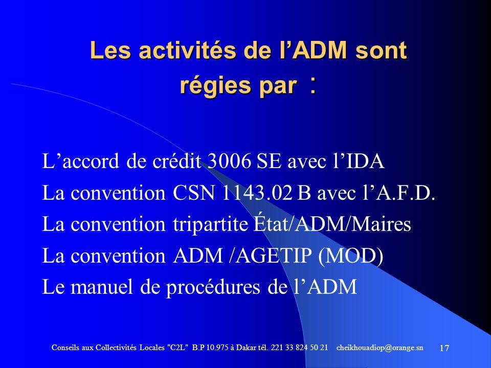 Les activités de l'ADM sont régies par :