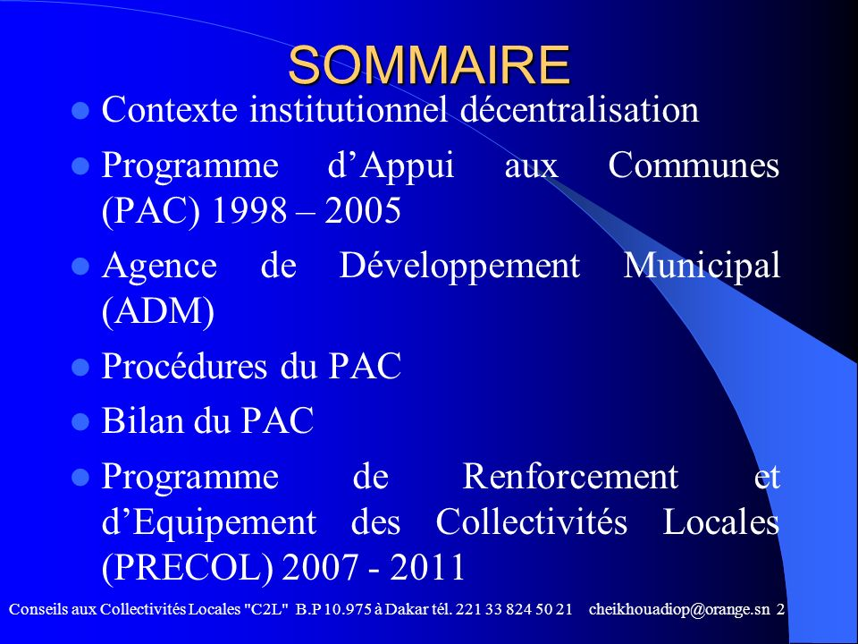 SOMMAIRE Contexte institutionnel décentralisation