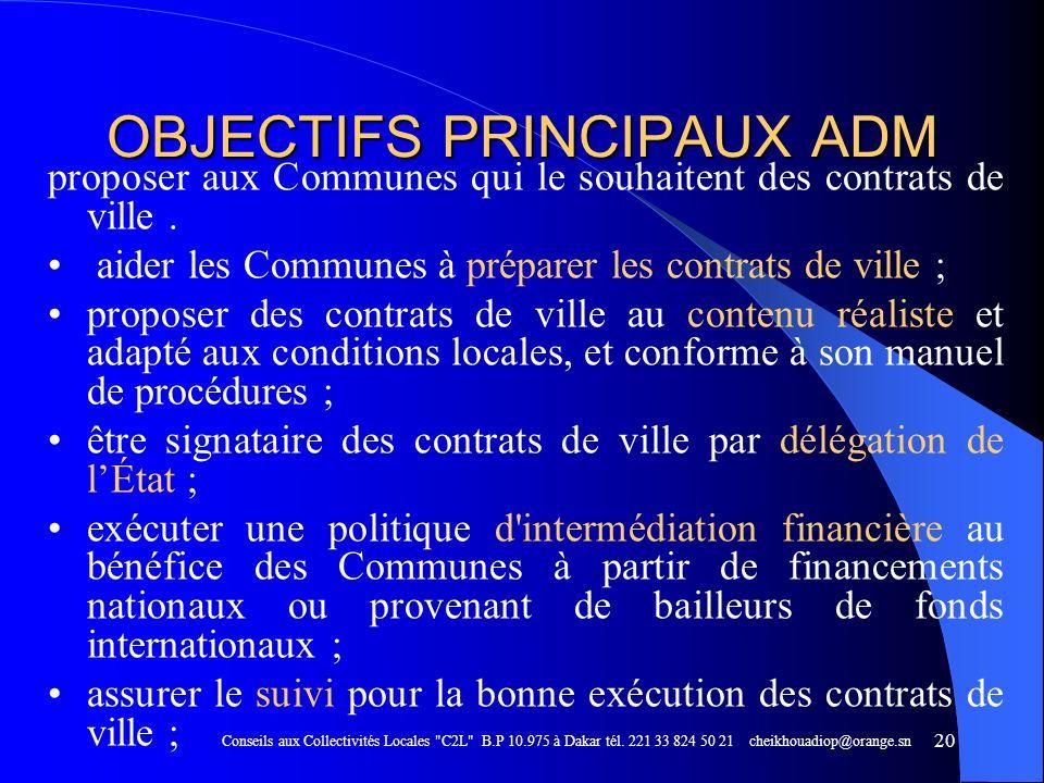 OBJECTIFS PRINCIPAUX ADM