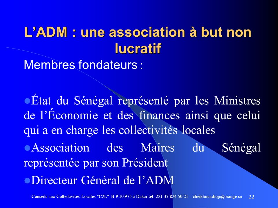L'ADM : une association à but non lucratif