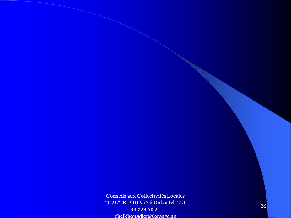 Conseils aux Collectivités Locales C2L B. P 10. 975 à Dakar tél