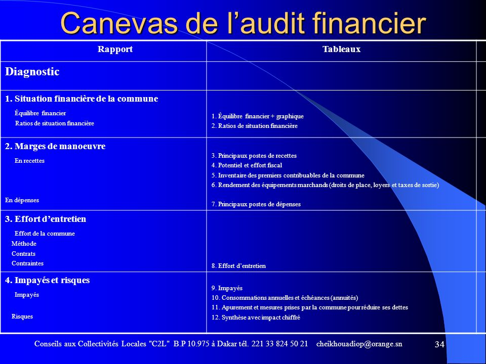 Canevas de l'audit financier