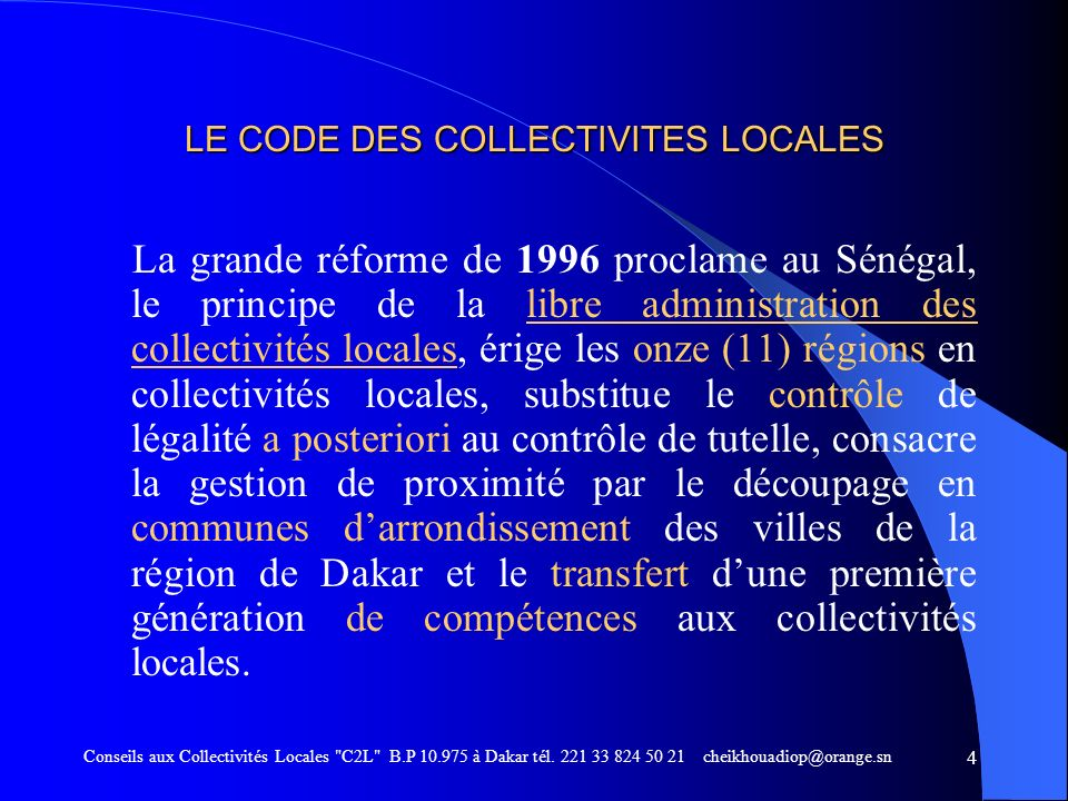 LE CODE DES COLLECTIVITES LOCALES