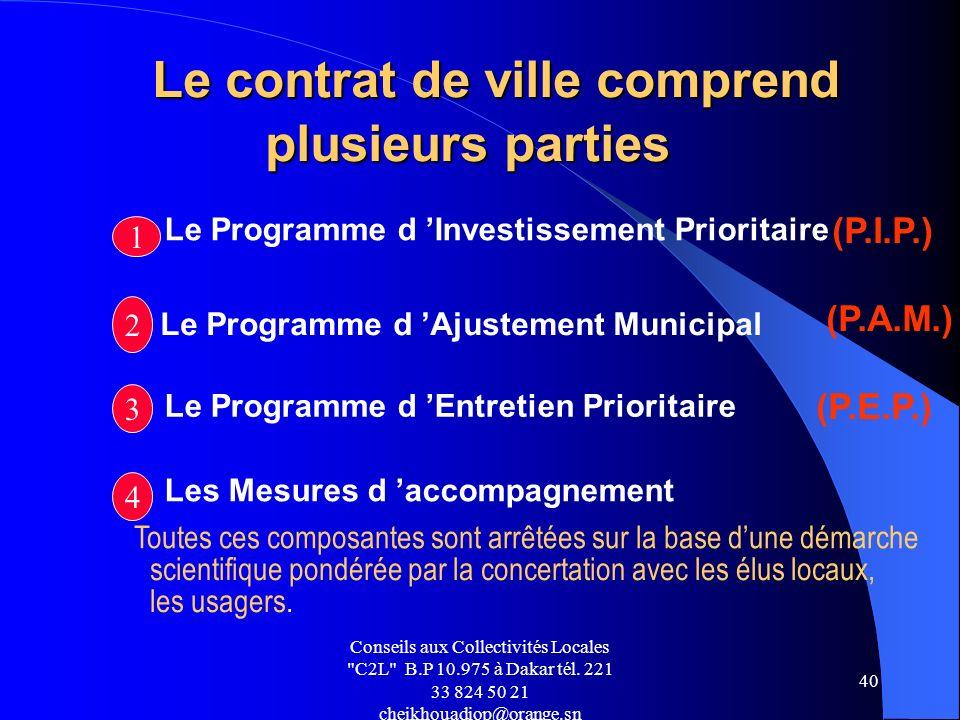 Le contrat de ville comprend plusieurs parties