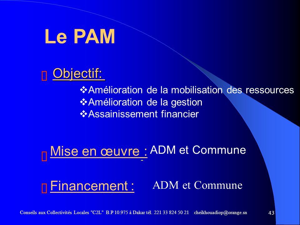 Le PAM Objectif: ë ë Mise en œuvre : ë ë Financement : ë ë