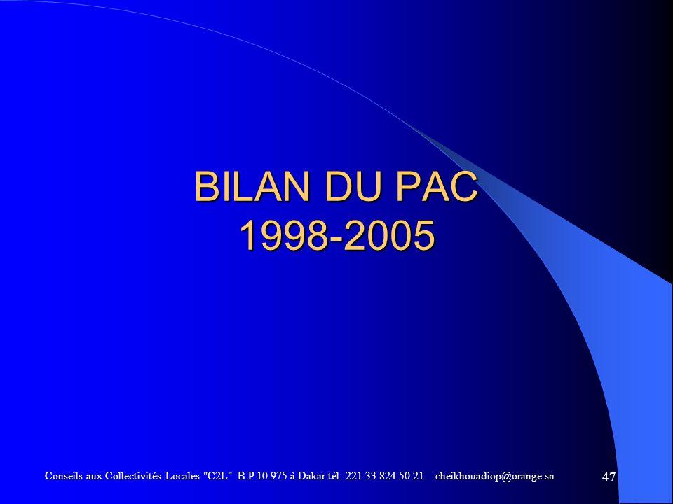 BILAN DU PAC 1998-2005 Conseils aux Collectivités Locales C2L B.P 10.975 à Dakar tél.