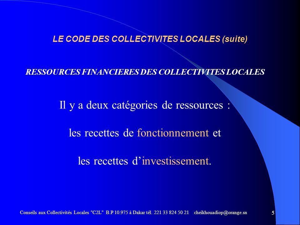 LE CODE DES COLLECTIVITES LOCALES (suite)