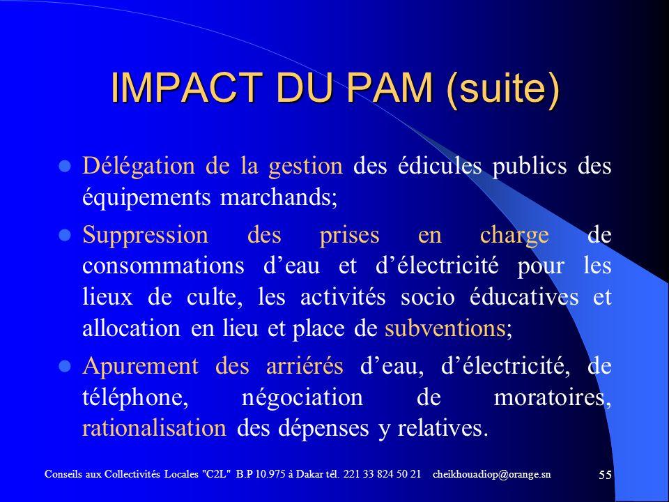 IMPACT DU PAM (suite) Délégation de la gestion des édicules publics des équipements marchands;