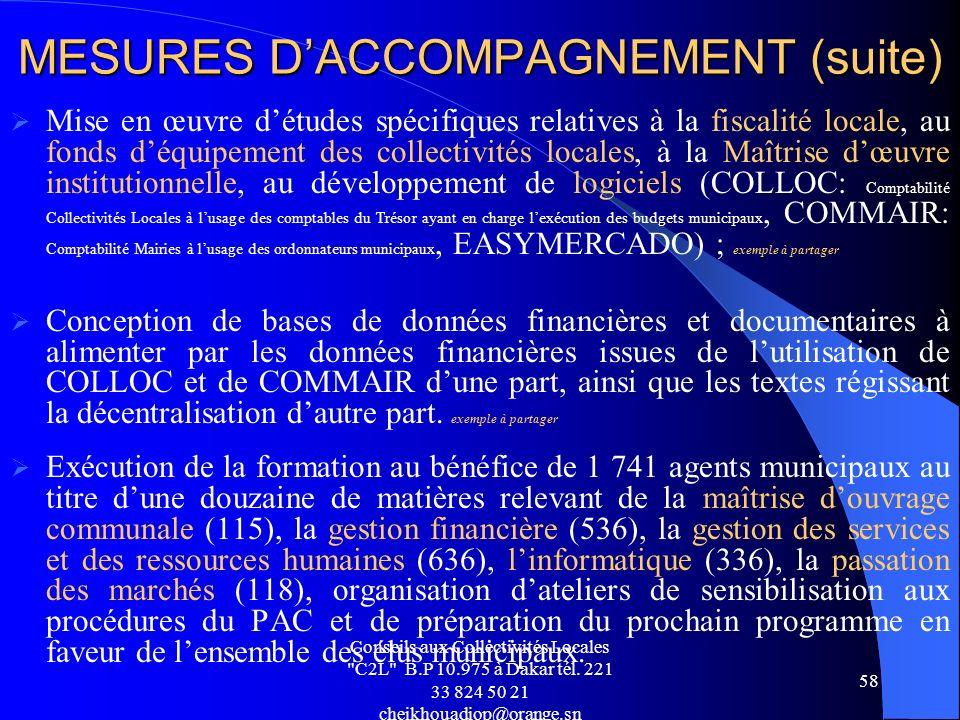 MESURES D'ACCOMPAGNEMENT (suite)
