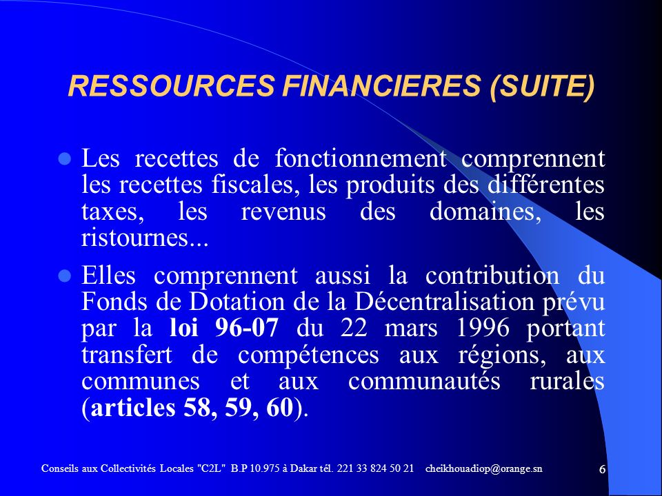 RESSOURCES FINANCIERES (SUITE)