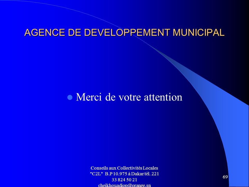 AGENCE DE DEVELOPPEMENT MUNICIPAL