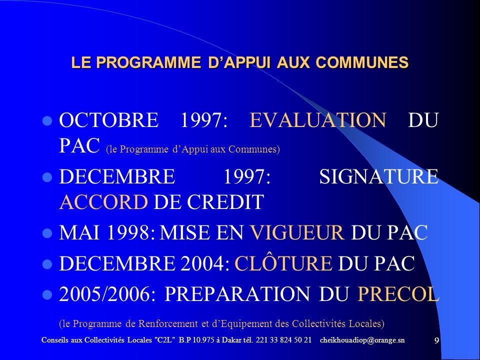 LE PROGRAMME D'APPUI AUX COMMUNES