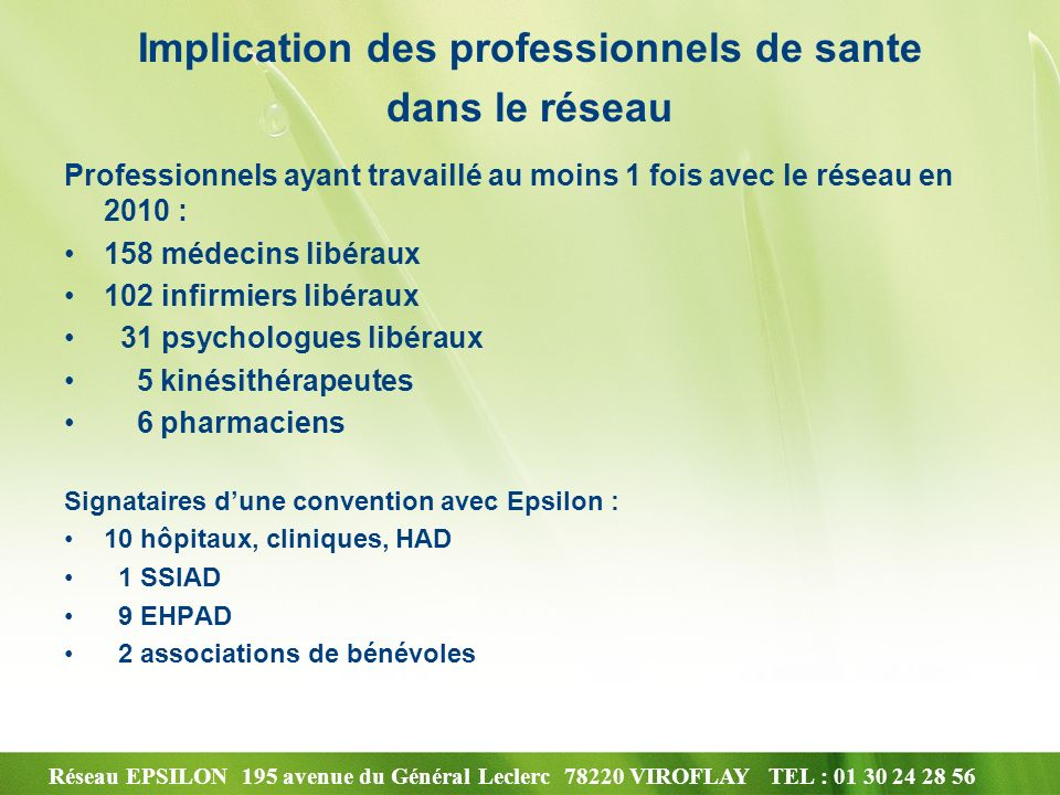 Implication des professionnels de sante