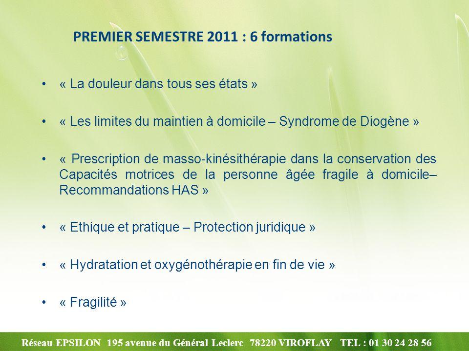 PREMIER SEMESTRE 2011 : 6 formations