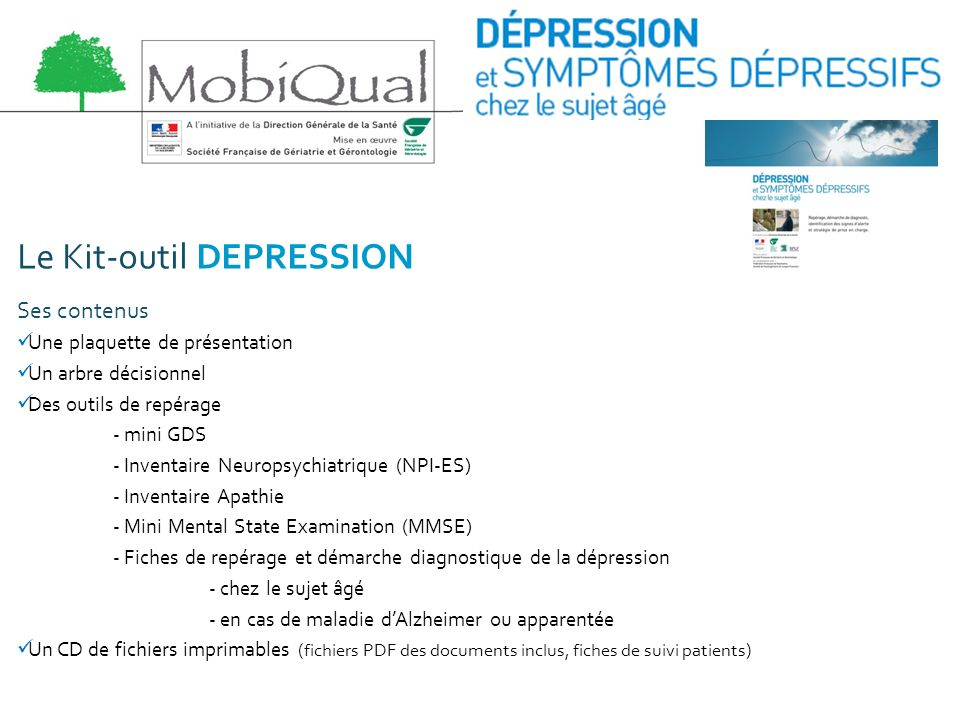 Le Kit-outil DEPRESSION