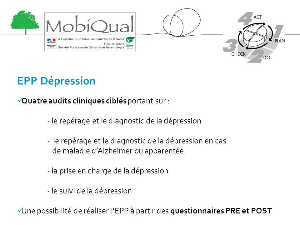 EPP Dépression Quatre audits cliniques ciblés portant sur :