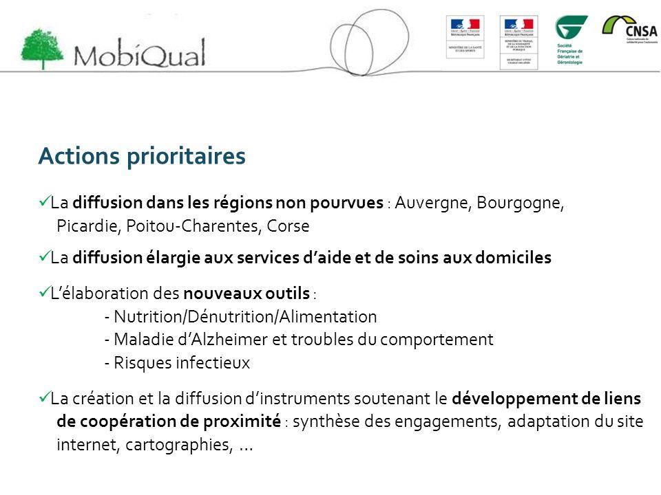 Actions prioritaires La diffusion dans les régions non pourvues : Auvergne, Bourgogne, Picardie, Poitou-Charentes, Corse.