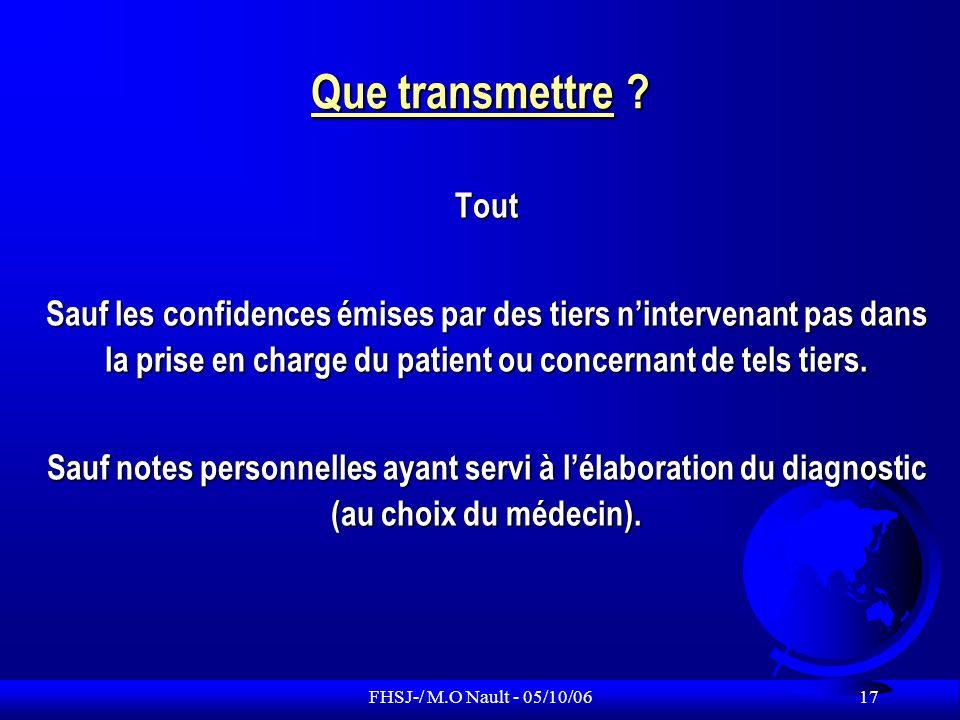Que transmettre Tout. Sauf les confidences émises par des tiers n'intervenant pas dans la prise en charge du patient ou concernant de tels tiers.