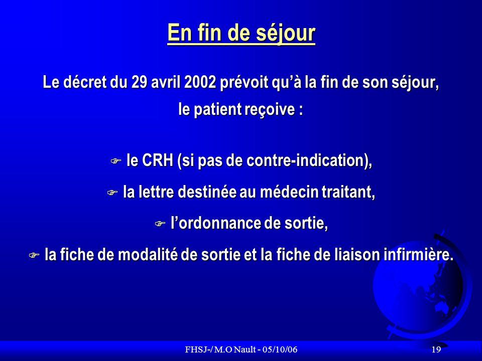 En fin de séjour Le décret du 29 avril 2002 prévoit qu'à la fin de son séjour, le patient reçoive :
