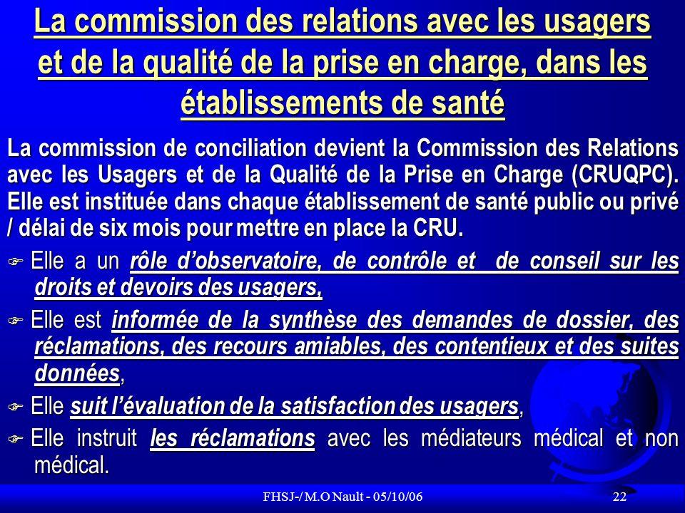 La commission des relations avec les usagers et de la qualité de la prise en charge, dans les établissements de santé