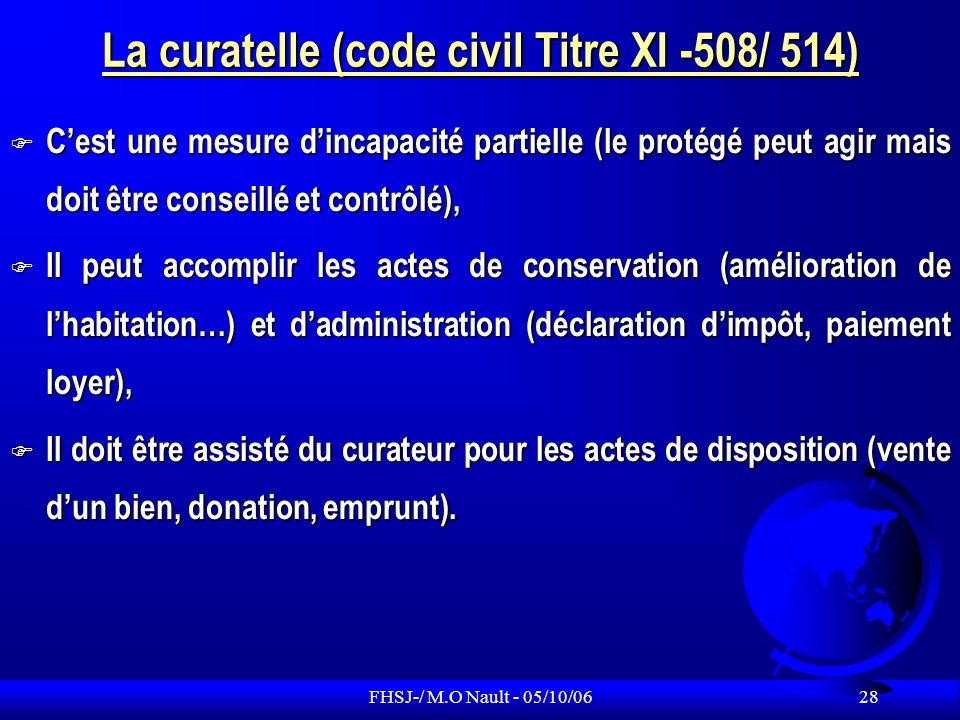 La curatelle (code civil Titre XI -508/ 514)