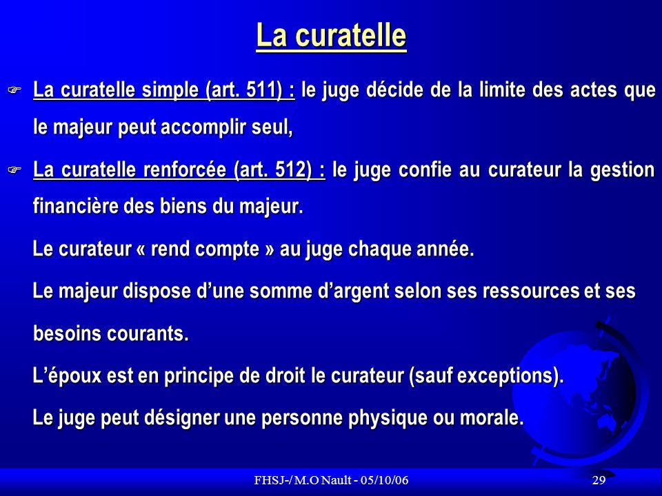 La curatelle La curatelle simple (art. 511) : le juge décide de la limite des actes que le majeur peut accomplir seul,