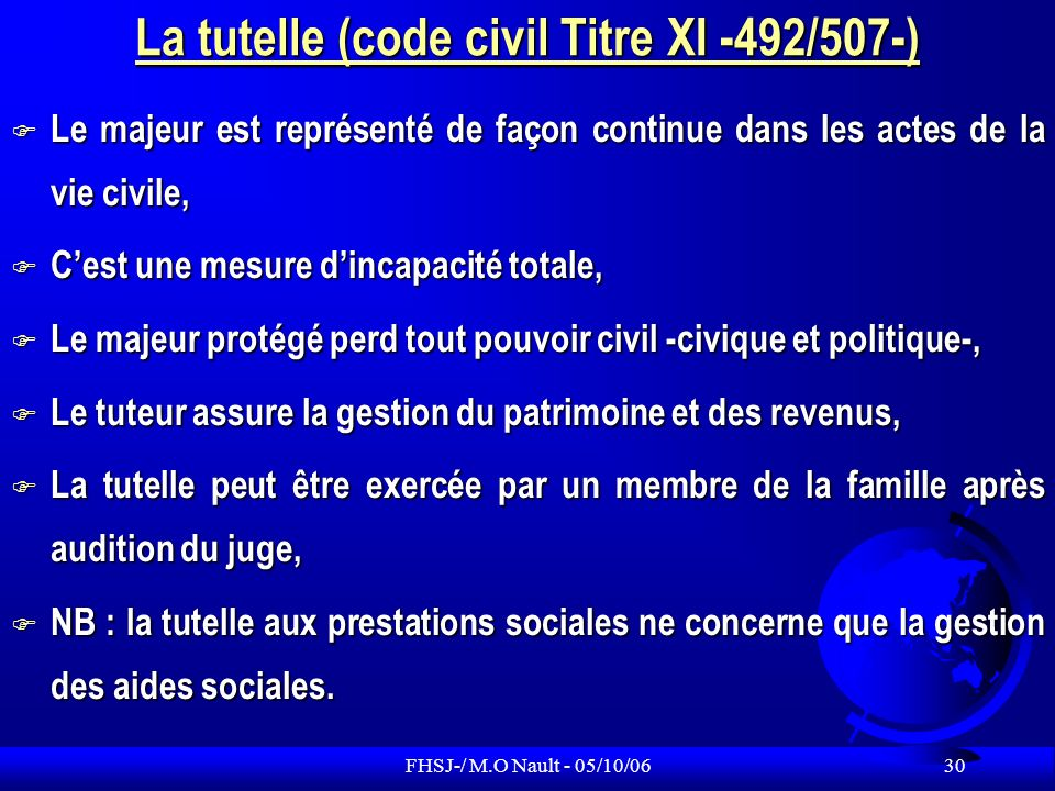 La tutelle (code civil Titre XI -492/507-)