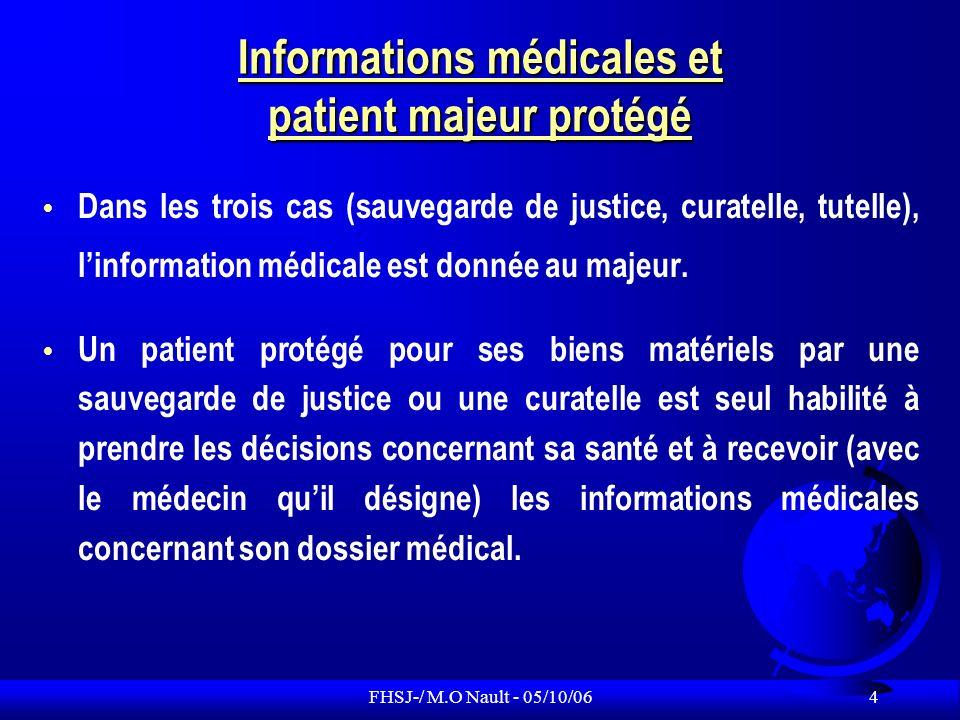 Informations médicales et patient majeur protégé