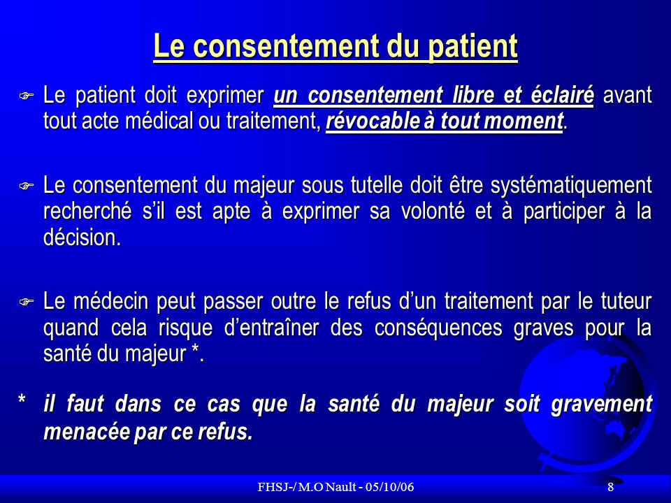 Le consentement du patient