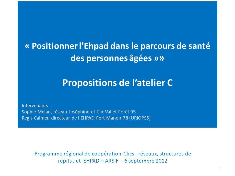 « Positionner l'Ehpad dans le parcours de santé des personnes âgées »» Propositions de l'atelier C