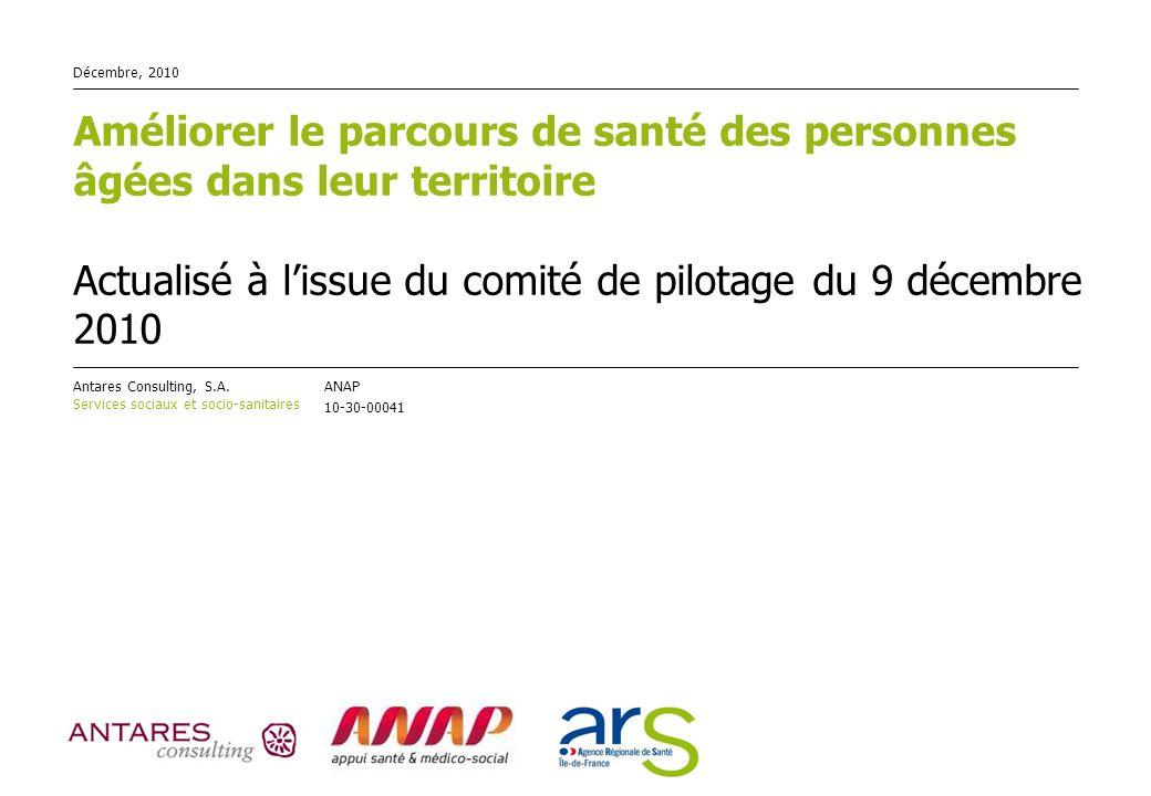 Décembre, 2010Améliorer le parcours de santé des personnes âgées dans leur territoire Actualisé à l'issue du comité de pilotage du 9 décembre 2010.