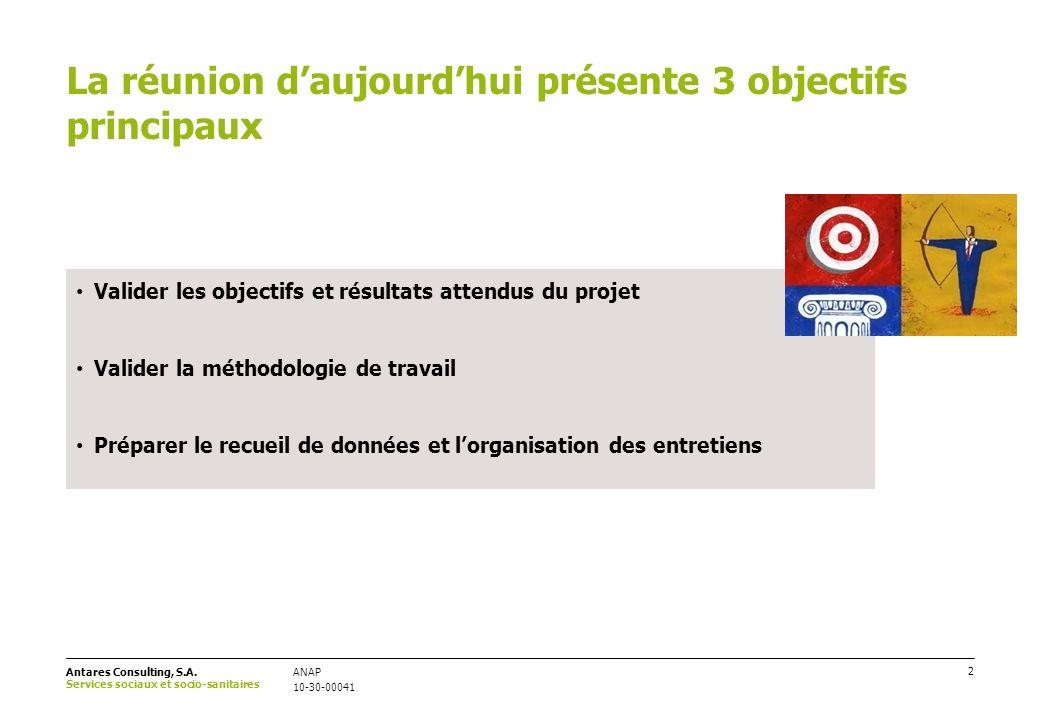 La réunion d'aujourd'hui présente 3 objectifs principaux