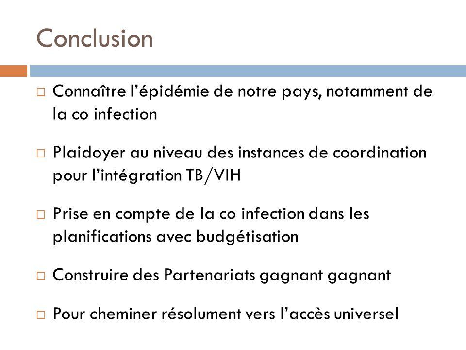 Conclusion Connaître l'épidémie de notre pays, notamment de la co infection.