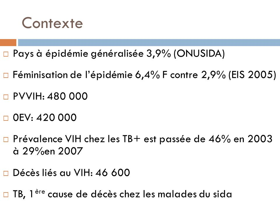 Contexte Pays à épidémie généralisée 3,9% (ONUSIDA)