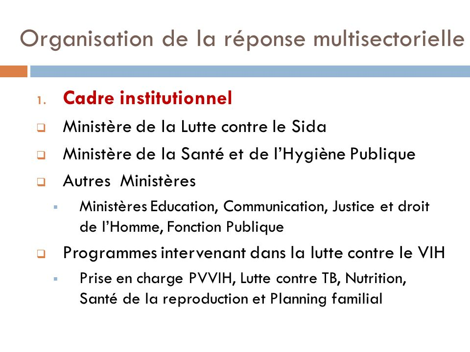 Organisation de la réponse multisectorielle