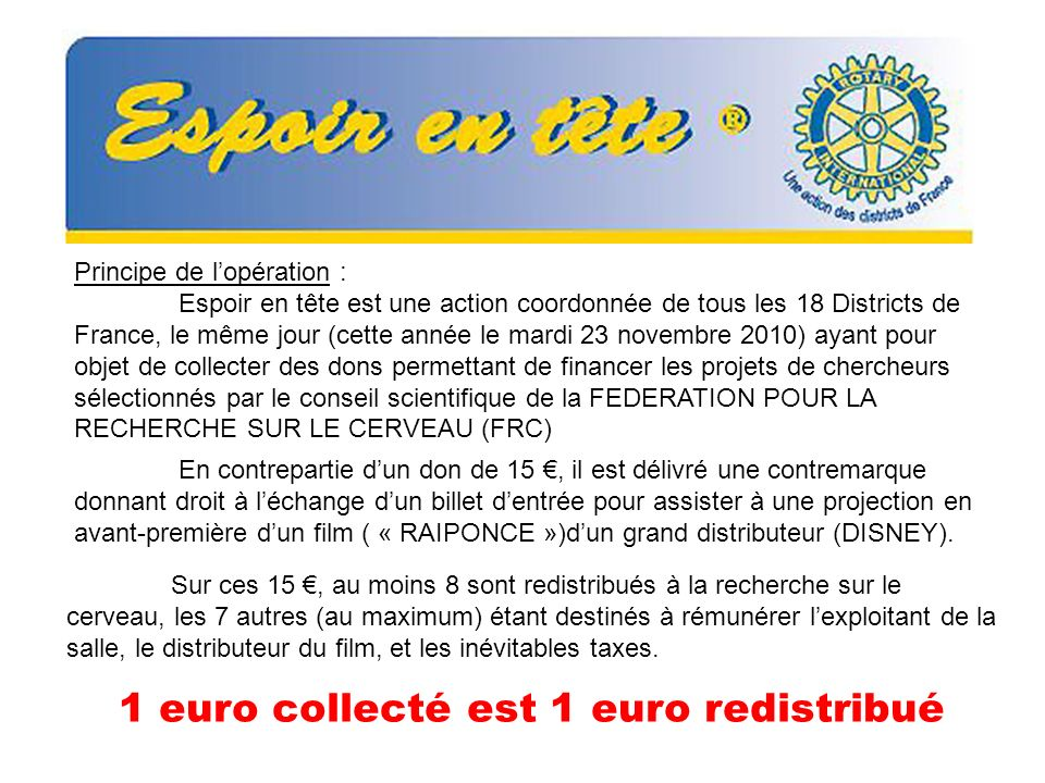 1 euro collecté est 1 euro redistribué