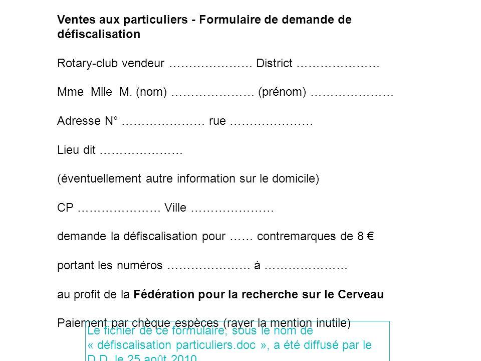 Ventes aux particuliers - Formulaire de demande de défiscalisation