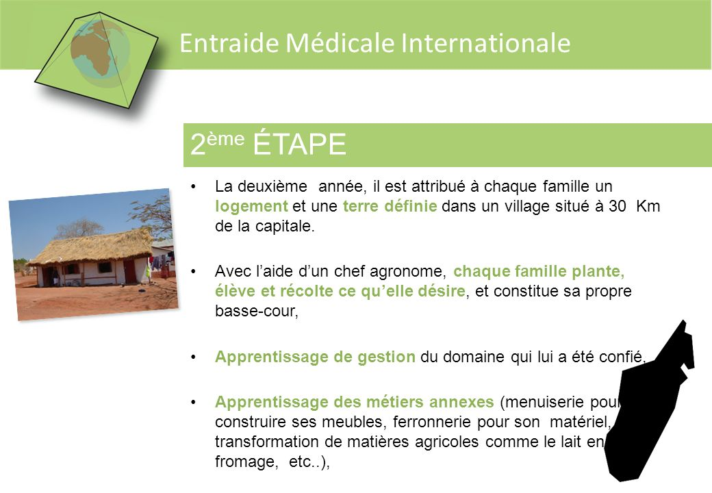 2ème ÉTAPE La deuxième année, il est attribué à chaque famille un logement et une terre définie dans un village situé à 30 Km de la capitale.