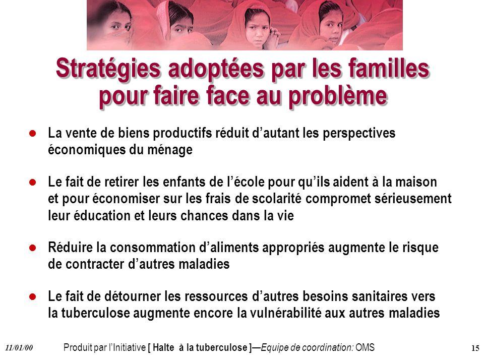 Stratégies adoptées par les familles pour faire face au problème