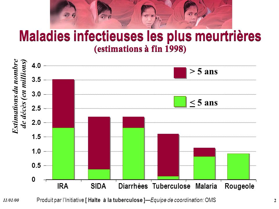 Maladies infectieuses les plus meurtrières (estimations à fin 1998)