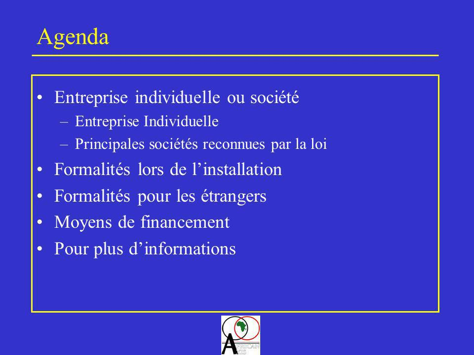 Agenda Entreprise individuelle ou société