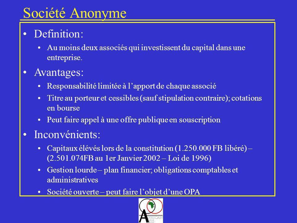 Société Anonyme Definition: Avantages: Inconvénients: