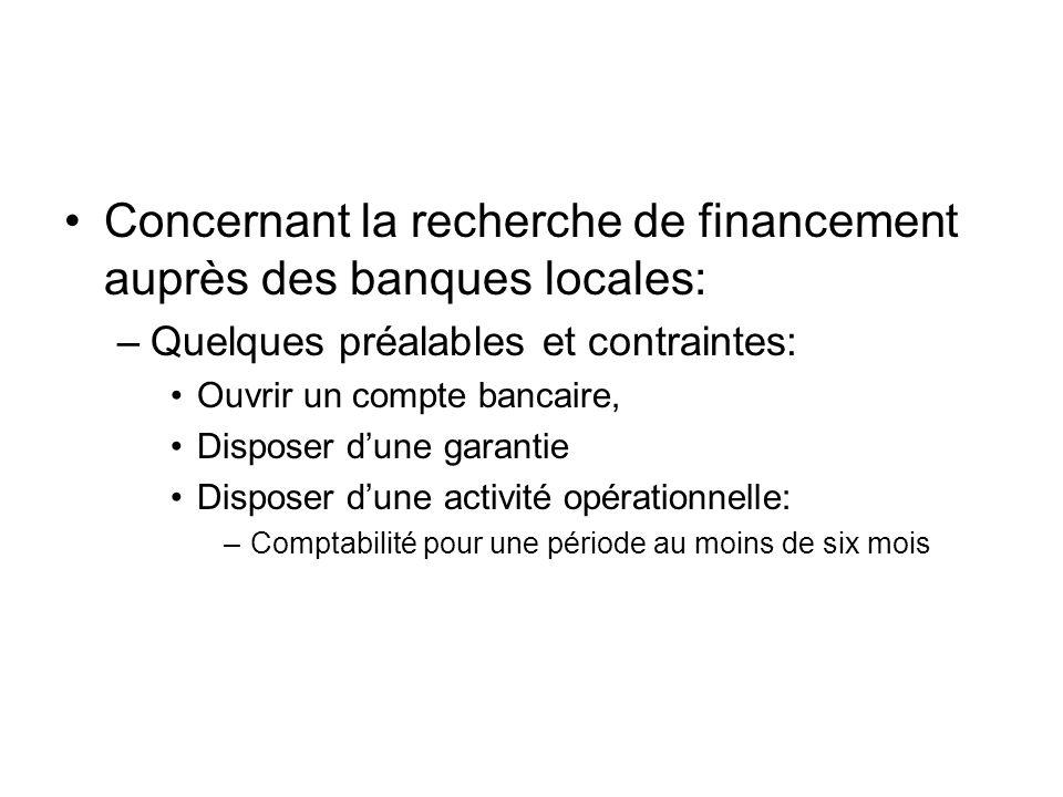 Concernant la recherche de financement auprès des banques locales: