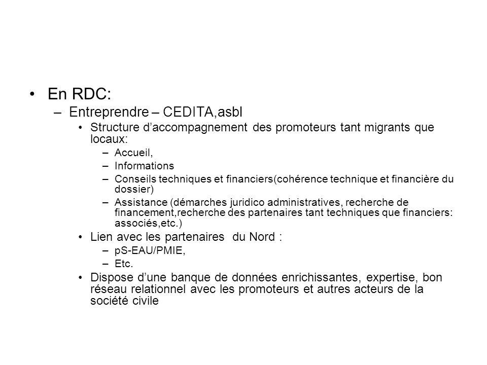 En RDC: Entreprendre – CEDITA,asbl