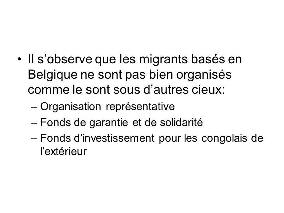 Il s'observe que les migrants basés en Belgique ne sont pas bien organisés comme le sont sous d'autres cieux: