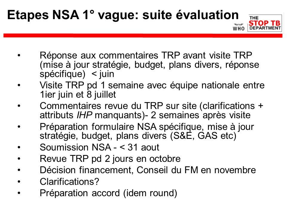 Etapes NSA 1° vague: suite évaluation