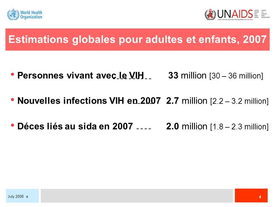 Estimations globales pour adultes et enfants, 2007